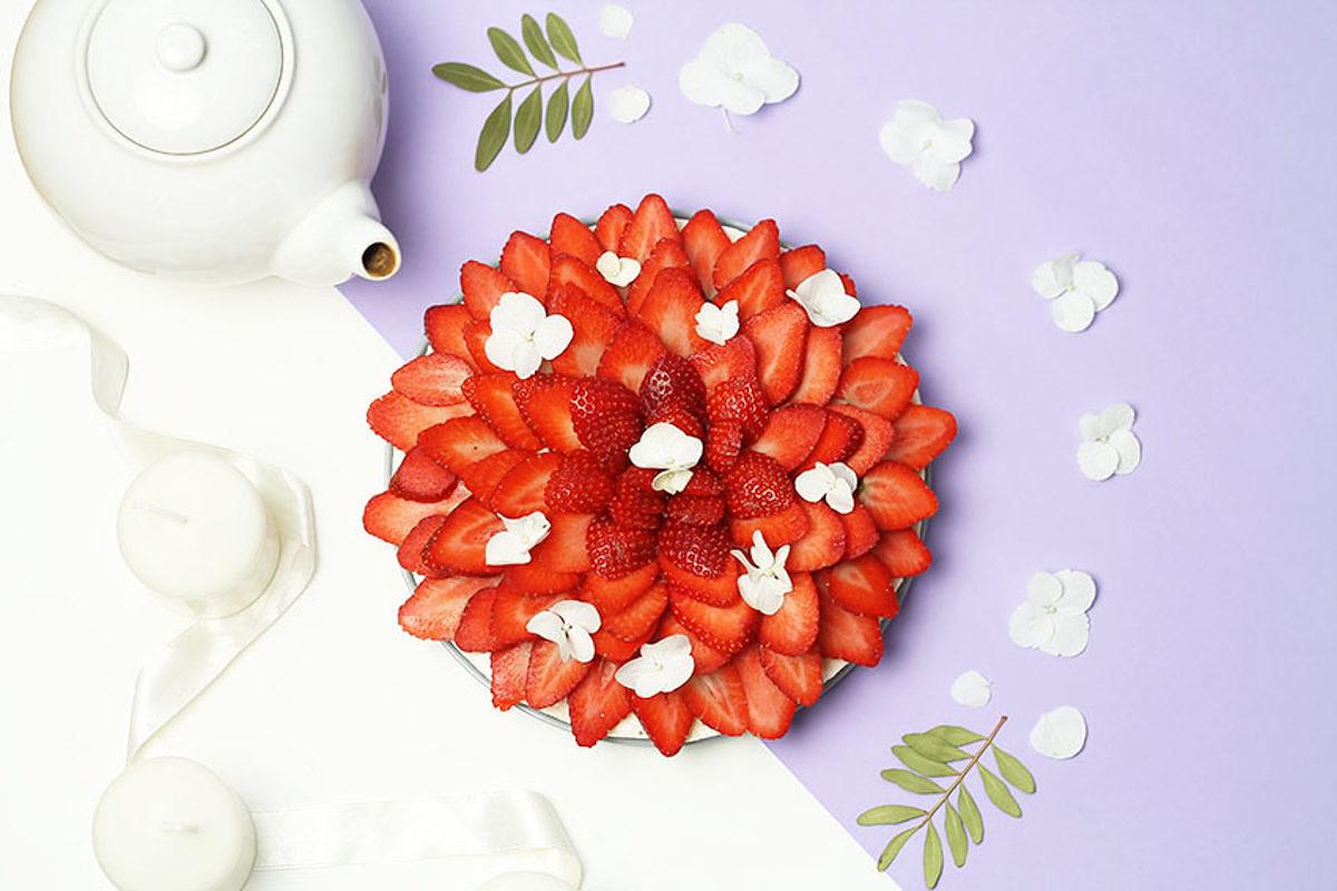 Cheesecake fraises fleur d'oranger 1