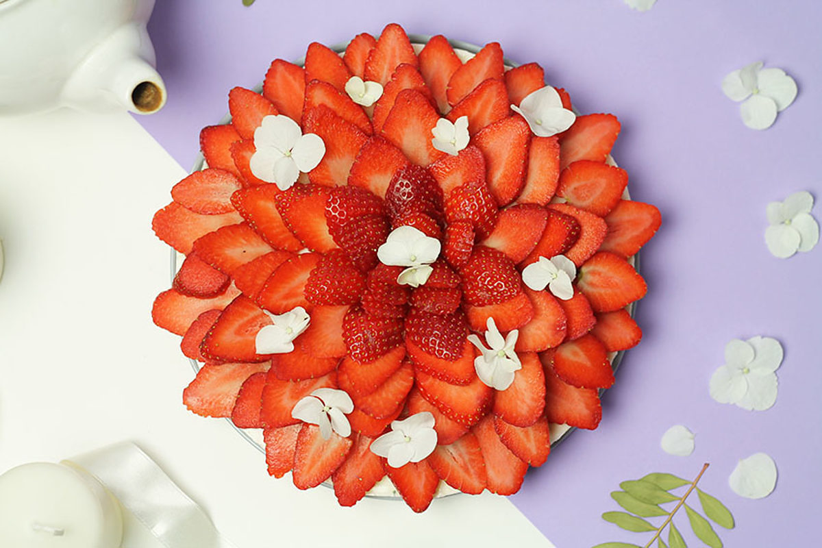 Cheesecake Sans Gluten Aux Fraises Et A La Fleur D Oranger Saxe