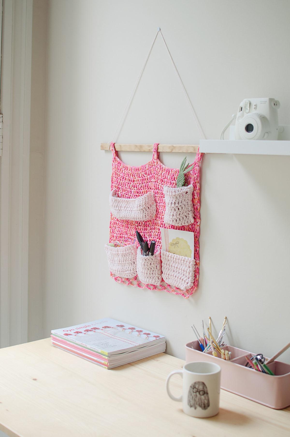 rangement mural crochet