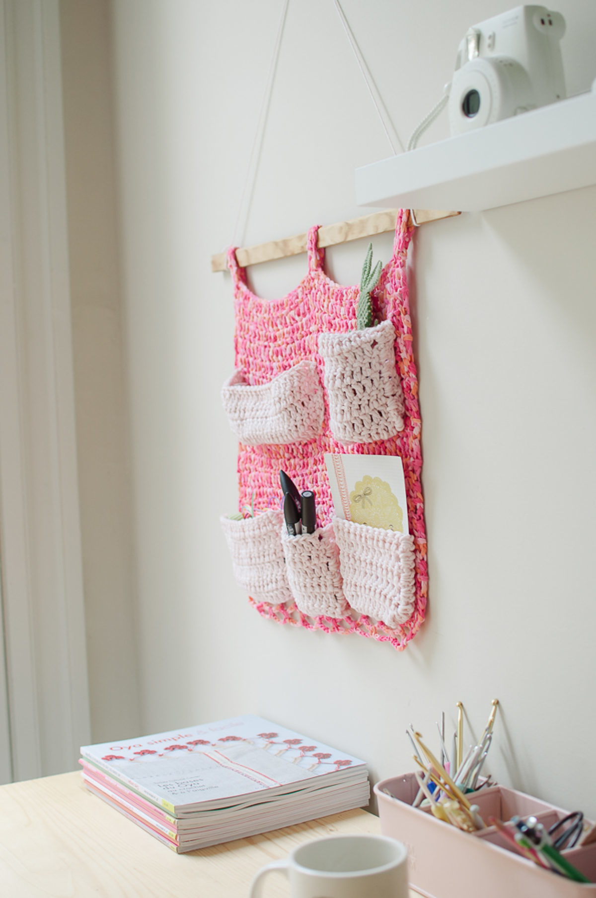 rangement mural crochet diy