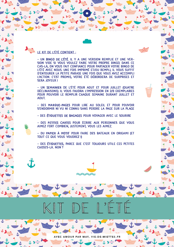 Kit de l'été à imprimer