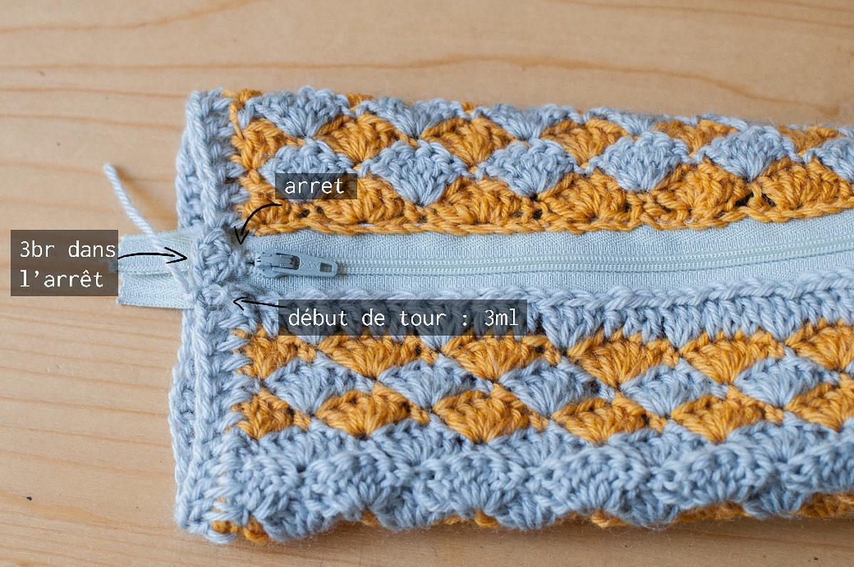 tuto zip crochet trousse