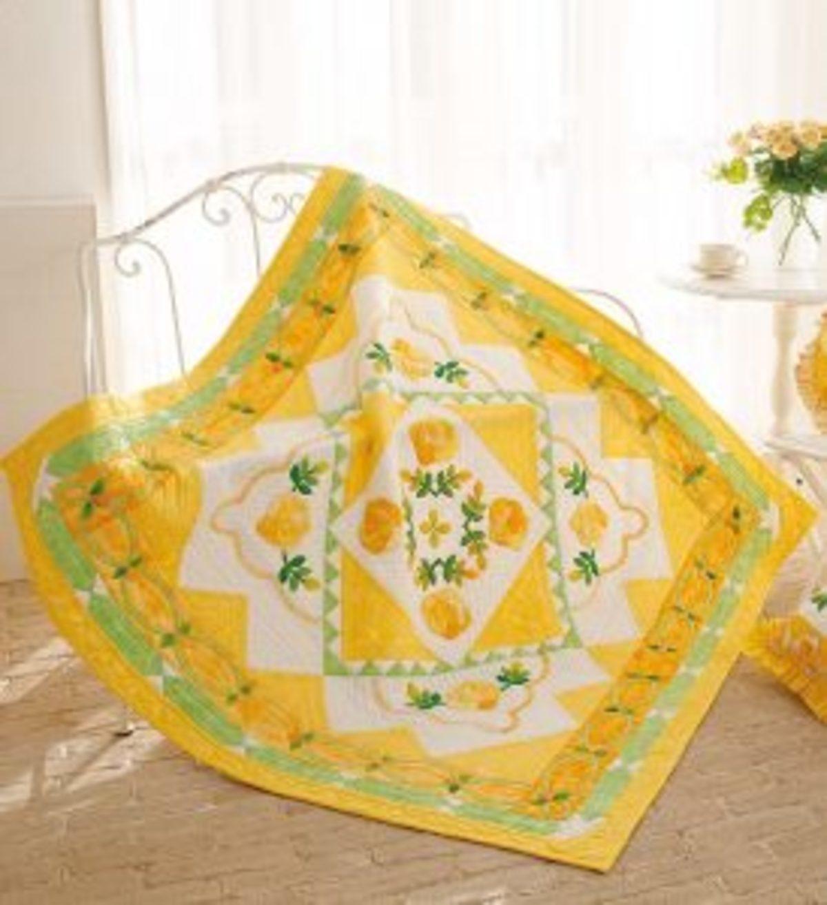 Quilt Japan roses jaunes