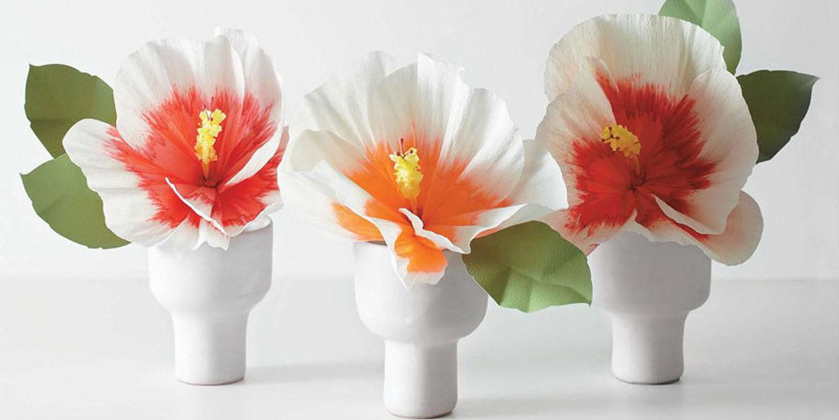 MLDI311 hibiscus fleurs en papier DIY