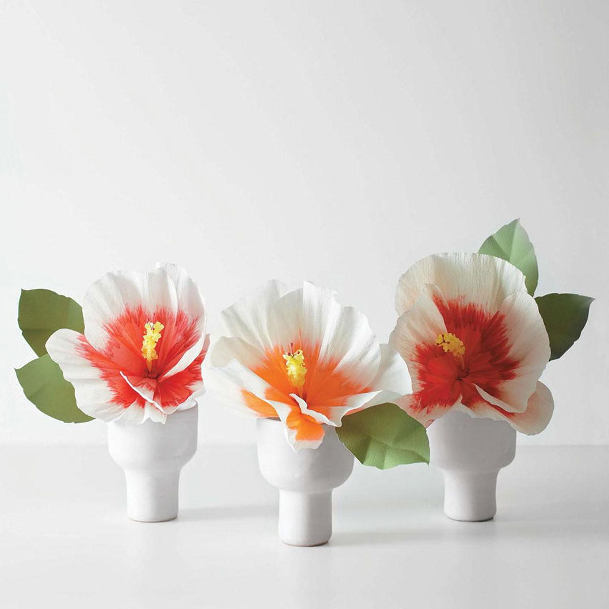 hibiscus fleurs en papier DIY