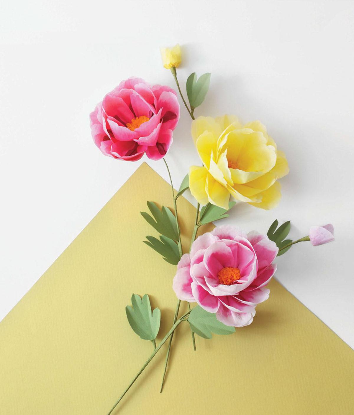 MLDI311 pivoine fleurs en papier DIY