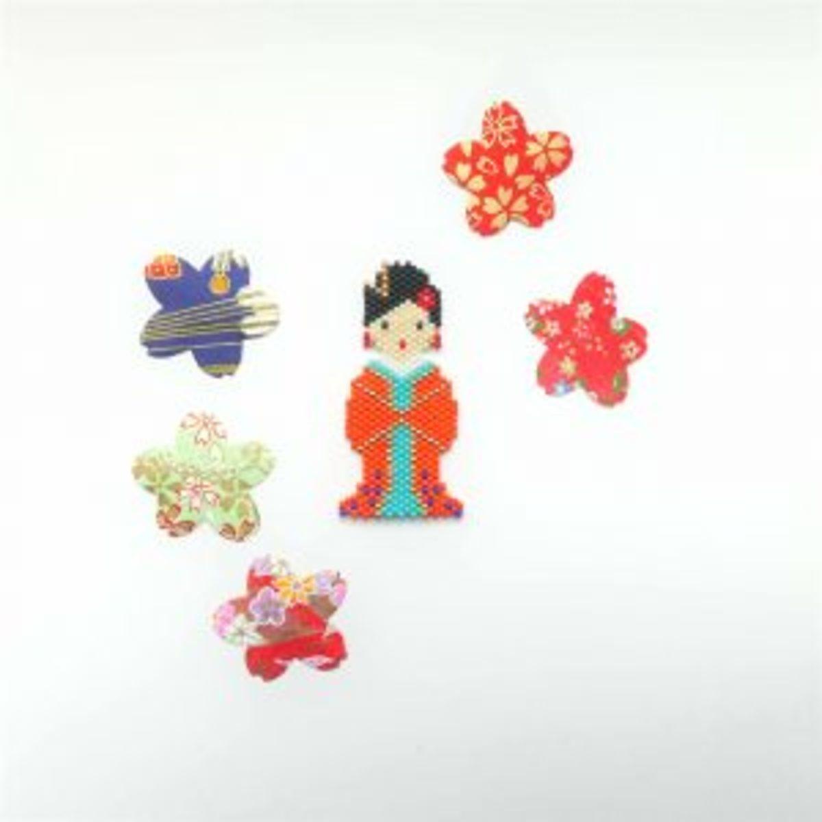 Brick stitch motif geisha