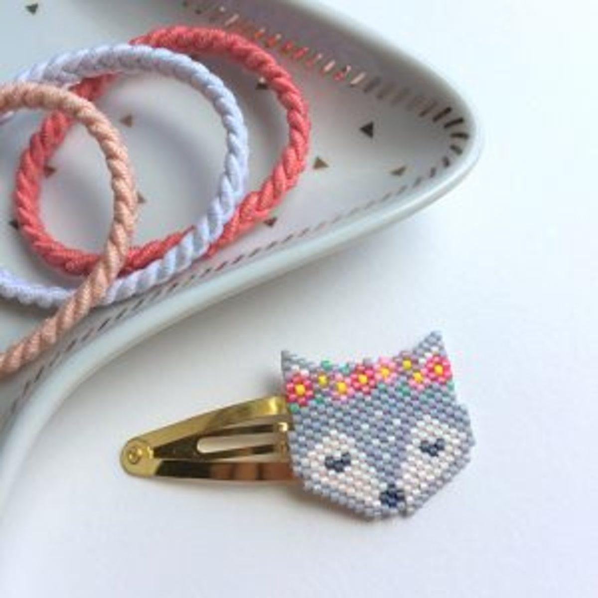 Brick stitch tissage de perles barrette