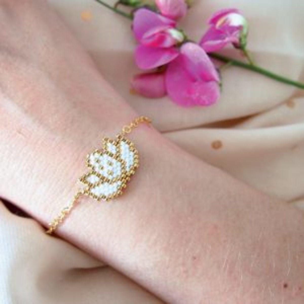 Brick stitch tissage de perles bracelet