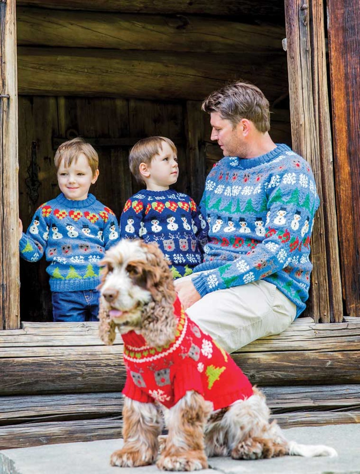 Pulls-Noel-tricot-famille-chien