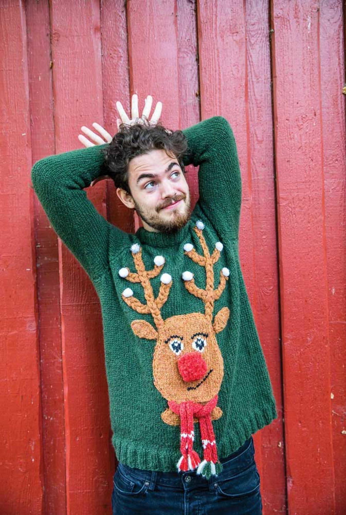 Pull de Noel au tricot rudolph