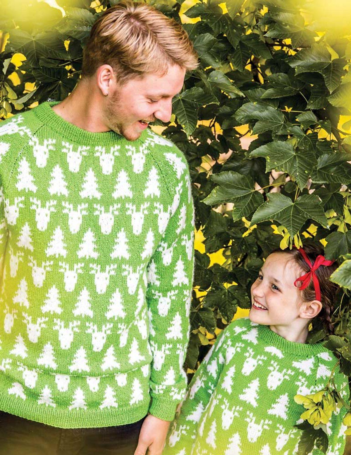 Pulls-Noel-tricot-vert_enfant-adulte