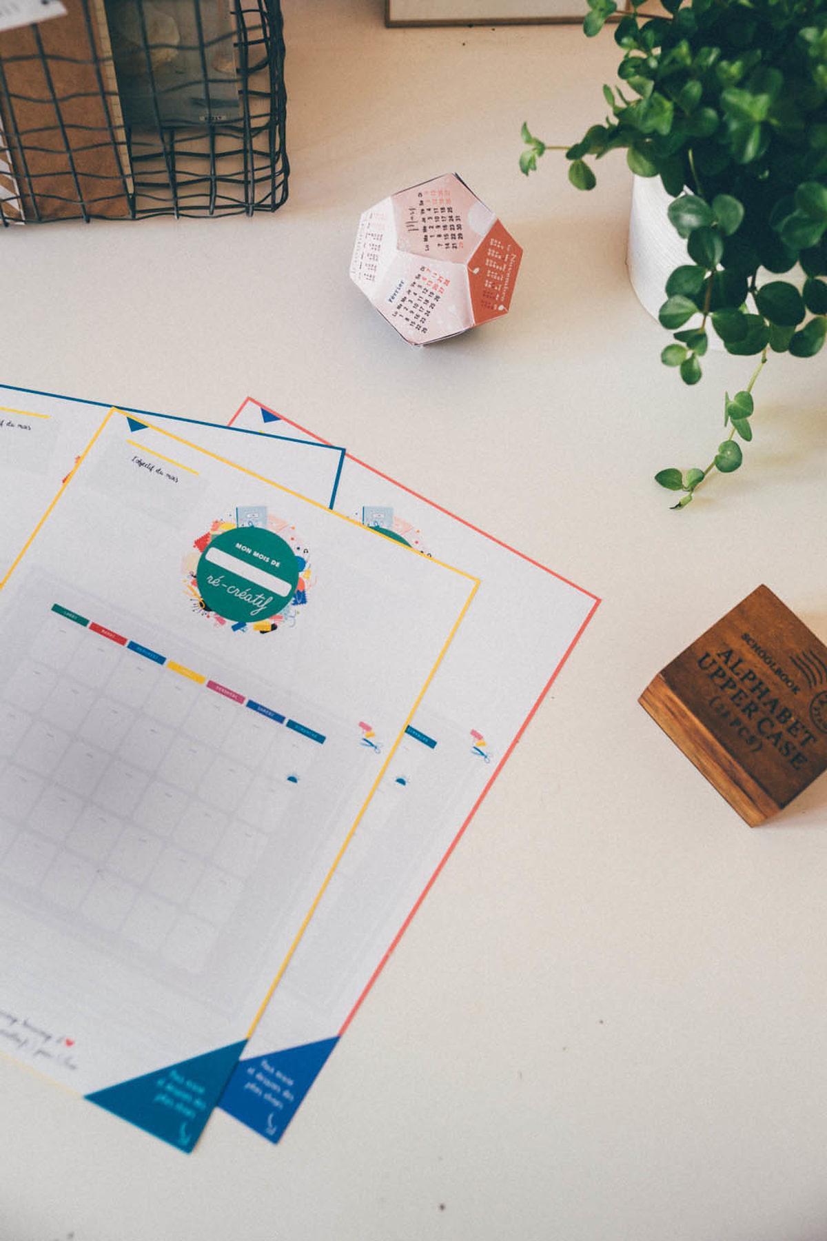 Calendrier créatif à imprimer par Vie de miettes